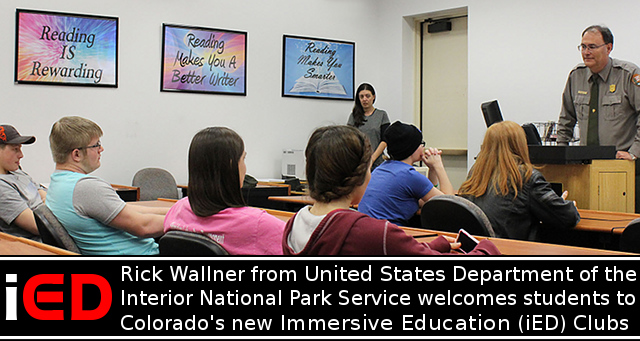 Rick Wallner from the United States Department of the Interior National Park Service welcomes students to Colorado's new Immersive Education (iED) Club